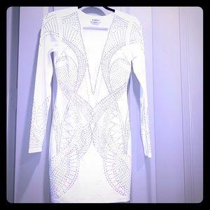 Bebe white long sleeve party dress
